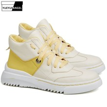 Winter Men Shoes Casual Genuine Leather Hip Hop Flat High Top