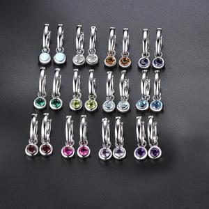 Image 5 - Pendientes de Clip de piedras preciosas de ópalo para mujer, joyas redondas de 5mm, pendientes de plata multicolor, regalos de estilo clásico 925