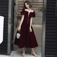 Cocktail Dresses Luxury V Neck short Sleeves Velvet Zipper A line Tea Length Cut out Formal Dress 2019 new