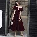 Vestidos de Cocktail de Luxo Com Decote Em V de Mangas curtas de Veludo Zipper A Linha de Chá Comprimento Cut-out Vestido Formal 2019 novo