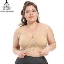 Sujetador sin costuras con almohadillas para mujer, bralette con realce, sin aros, talla grande 5XL, 6XL