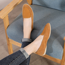 2019 Autumn VALLU Women Flat Shooes Natural Leather Suede Soft Mother Moccasin Shoes Simple Lady Casual Loafers Daily Flats