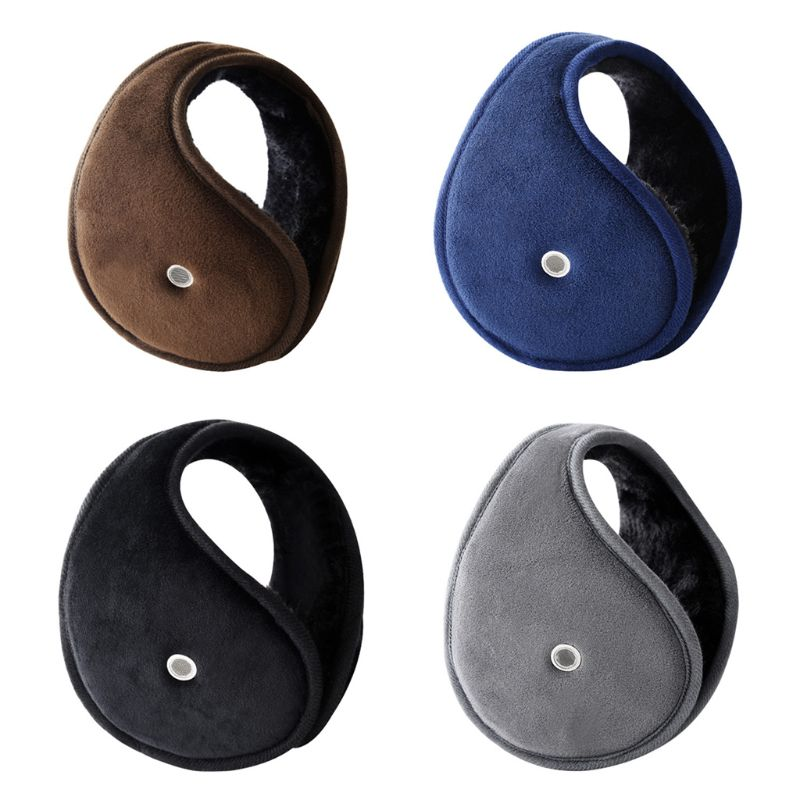 Men Women Winter Thicken Plush Lining Classic Earmuffs With Earholes For Answer Phone Unisex Outdoor Adjustable Ear Warmer