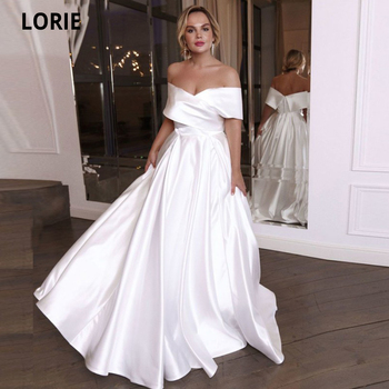 LORIE Simple A-line Satin Wedding Dresses with Off Shoulder Beach Wedding Gown Open Back Bridal Gown Plus Size Custom Made plus open shoulder sweatshirt