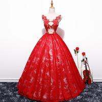 Fashion Sleeveless Quinceanera Dresses Elegant V neck Appliques Floor Length Ball Gown Fashion Party Prom Quinceanera Dress