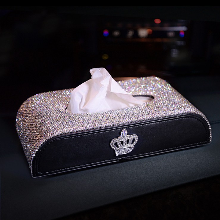 Stars Car Mounted Tissue Box Swan With Crown Diamond Set Car Tissue Box Full Of Crystals Seat Type Paper Extraction Box Car