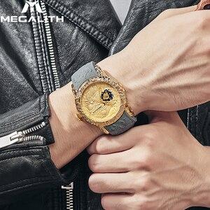 Image 5 - MEGALITH Oro Scultura Drago Meccanico Automatico Orologi Da Uomo Impermeabile Al Quarzo Cinturino In Silicone Orologio Da Polso Orologio Relojes Hombre