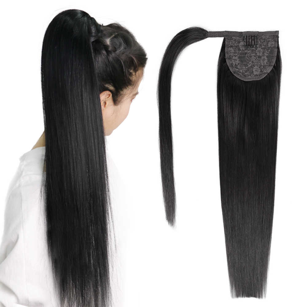 "Paardenstaart Remy Human Hair 14 ""18"" 22 ""Straight Kapsels 60g 100% Natural Hair Clip in Extensions"