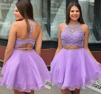 YiMinpwp Lilac Two Pieces Homecoming Dresses O Neck Backless Major Beading Short Prom Party Gowns for Sweet 15 Plus Size