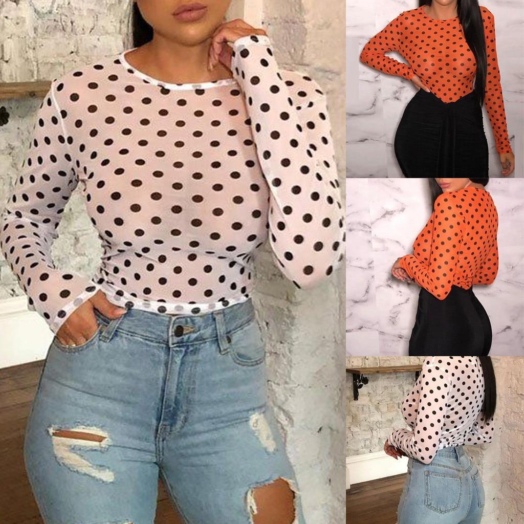 Tshirt Women Fashion O-Neck Point Print Mesh Long Sleeve T-shirt Tops Poleras Harajuku Camiseta Mujer Top Women T Shirt Camisas