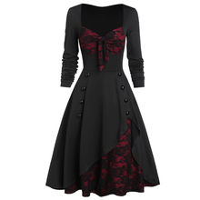 New Dresses Vintage Women Long Dress Plus Size Halloween Gothic Clothes Skull Lace Insert Mock Button Bowknot Dress Robe FemmeO3(China)