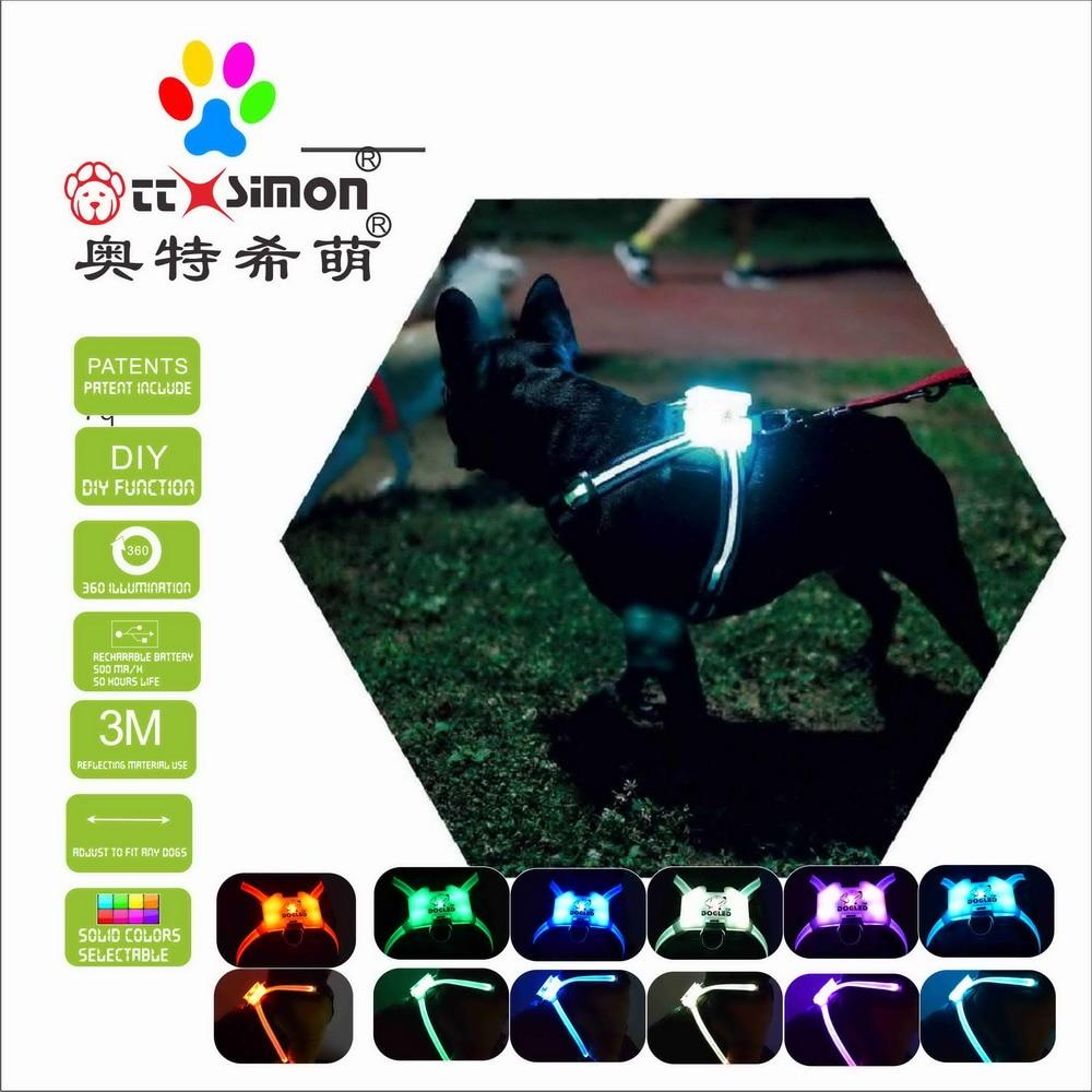 CC Simon unique products nylon led dog collar pet light up collar night Puppy Lead Pets Vest xl dog collar for large dog 2021