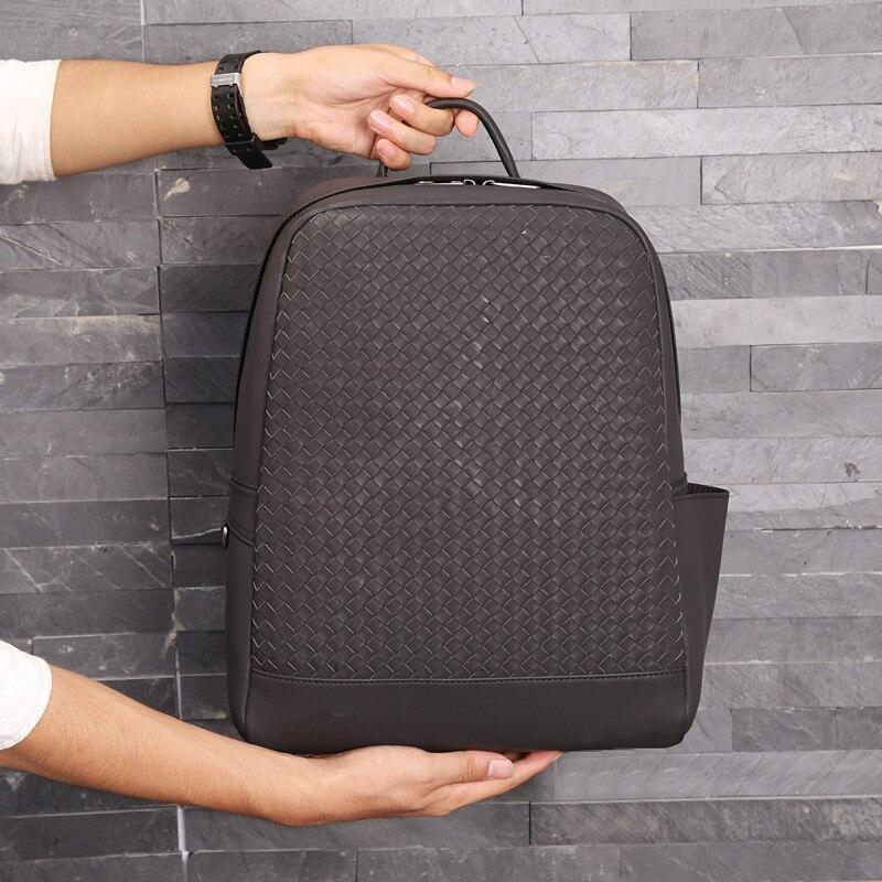 Кожаный Плетеный рюкзак для пар воловья кожа мужская сумка большой емкости рюкзак мужские и женские общие сумки