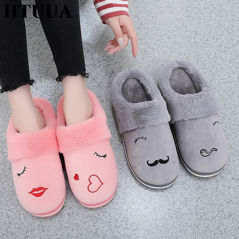 HTUUA Indoor Shoes Plush-House Home Slippers Non-Slip Winter Women's Woman Warm Cotton