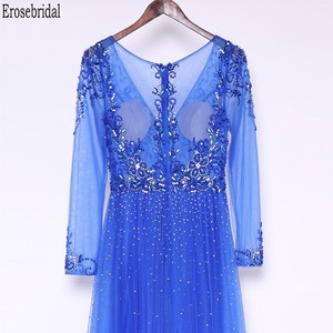 Image 5 - Erosebridal Royal Blue Prom Dress Long Sleeve 2020 New Fashion Elegant Long Formal Evening Gown Party Luxury Beaded Prom Gown
