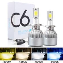 2個C6 led車のヘッドライトH7 led H4電球H8 H1 H3 H11 HB3 9005 HB4 9006 9007自動lampsフォグランプ3000 18k 6000 18k 8000 18k卸売