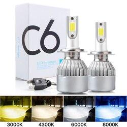 2PCS C6 led Car Headlight H7 LED H4 Bulb H8 H1 H3 H11 HB3 9005 HB4 9006 9007 Auto Lamps Fog Lights 3000K 6000K 8000K wholesale
