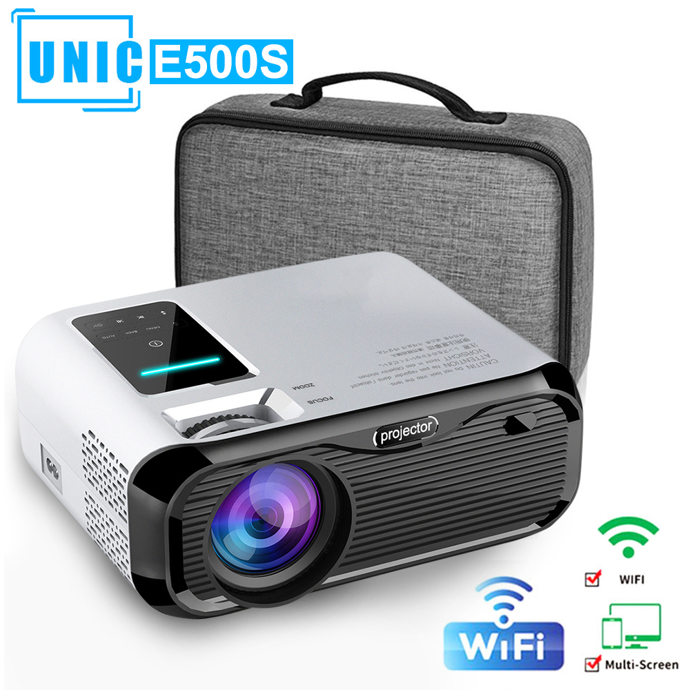 Mini Projector Phone-1280x800p-Resolution Full-Hd 6000lumens E500S Home Theater 4K Beamer title=
