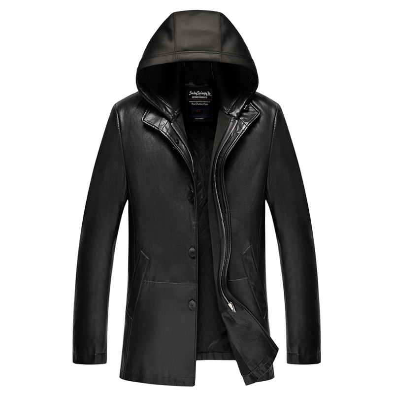 New Winter Leather Jacket For Men Detachable Hat Soft Black Jacket Men Fur Inside Keep Warm Jaqueta Masculina, Sizes M-3XL