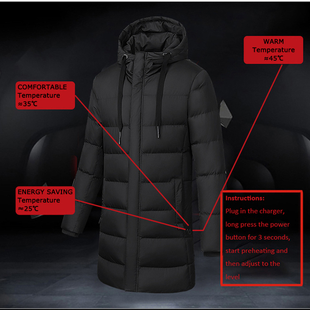 Men Winter Heated Hiking Jackets Women Warm Hooded Long Coats Outdoor Skiing Climbing Windproof Down Cotton Overcoat Plus Size 2
