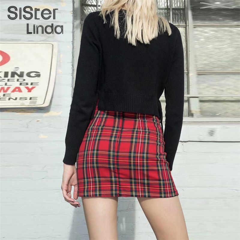 Sisterlinda basit kırmızı kısa Bodycon ekose etek bayan 2019 yaz moda yüksek bel Mini etek Streetwear kısa eğlence etek