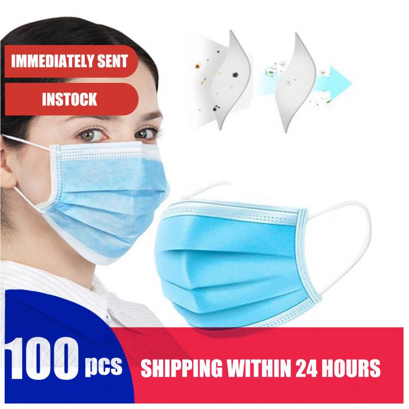 100PCS Efficient Disposable Mask Nonwoven Elastic Mask Soft Breathable Masque Earloop High Quality Mask Respirator