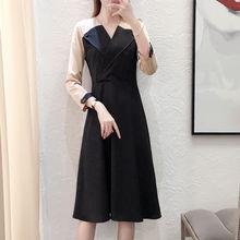 Платье миди с длинными рукавами 2019 осеннее Новое Стильное