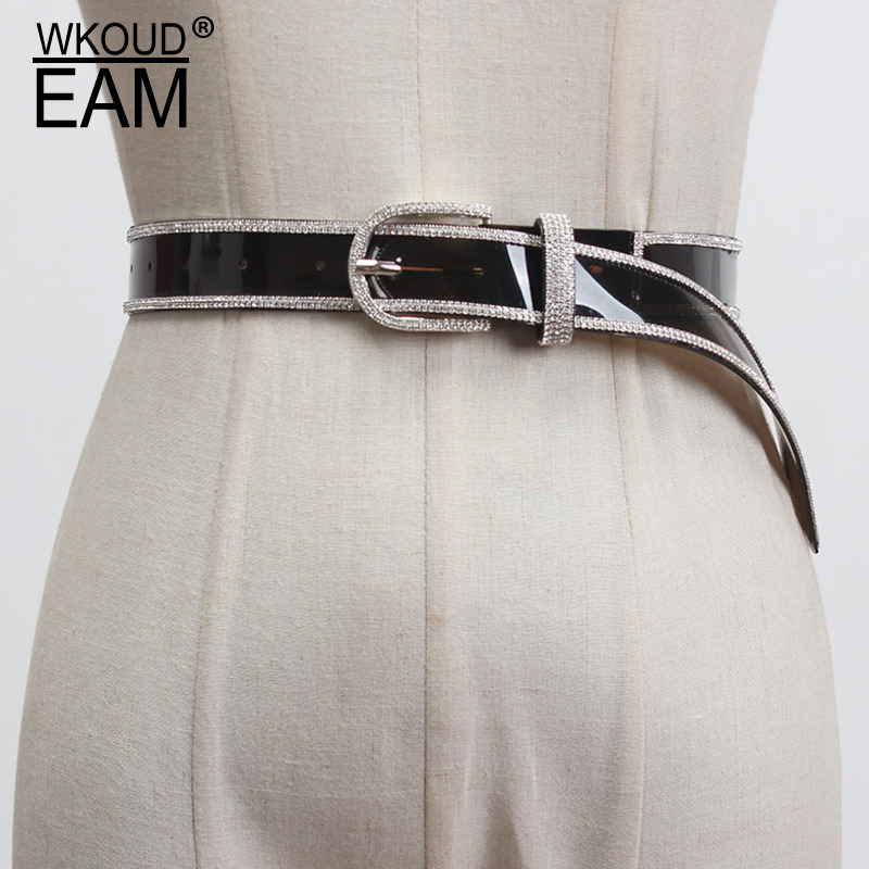 WKOUD EAM 2020 New Diamond Fine Belt Fashion Flash Drilling Transparent Temperament Wild Dress Corset Belt Female Tide PF475