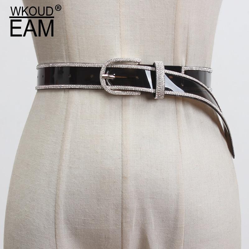 WKOUD EAM 2020 New Diamond Fine Belt Fashion Flash Drilling Transparent Temperament Wild Dress Corset Belt Female Tide PF475