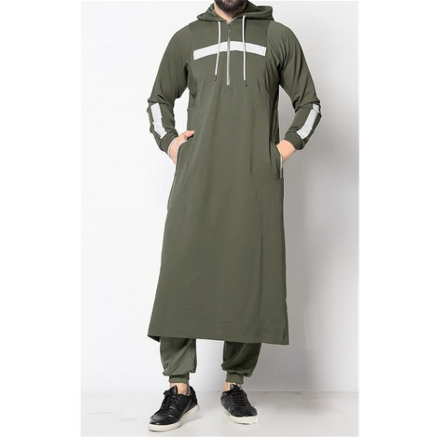 Middle East Man Muslim Hooded Thobe Jubba Casual Long Sleeve Turkish Saudi Arabia Cotton Sweatshirt Islamic Kaftan Robes