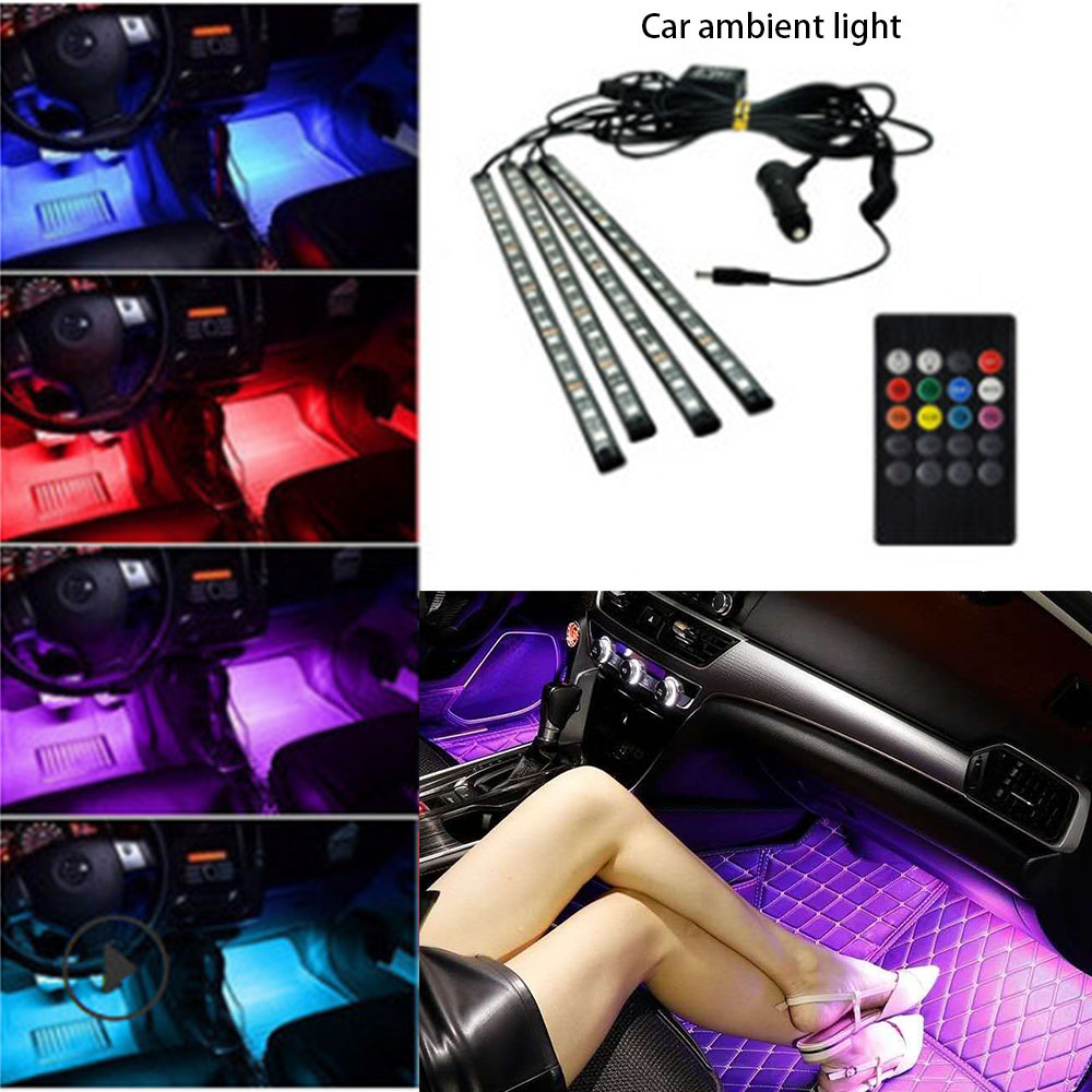 Car Interior LED Decorative Light Bar Ambient Foot Lamp With Cigarette Lighter atmosphere lights Backlight 12v Auto Accessorie