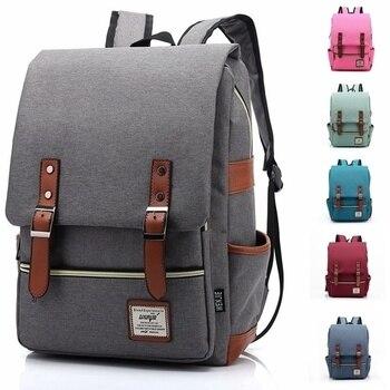 Mochila de lona informal Vintage para hombre y mujer, mochila de viaje, mochilas escolares, mochila