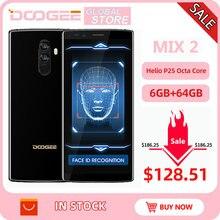Original doogee mix 2 android 7.1 4060 mah 5.99 fcore fhd + helio p25 octa núcleo 6 gb ram 128 gb rom smartphones quad câmeras 16.0 + 13.0 mp