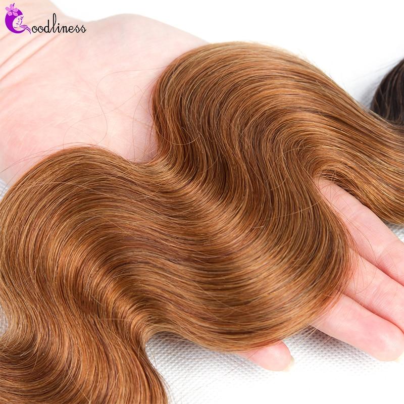 Goodliness 1/3/4 Bundles Ombre Blonde Brazilian Hair Weave Bundles 99J Burgundy Body Wave Bundles 100% Remy Human Hair Bundles
