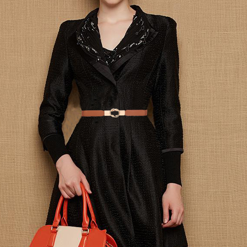 Cummerbund Women Fashion Retro Casual Concise All-match PU Leather High-elastic Thick Belt For Dress Cummerbund Xm
