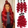 1B 99J/Bordeaux Menselijk Haar Bundel Ombre Rood Braziliaanse Body Wave Menselijk Haar Weave Bundels Remy Hair Extensions Kan kopen 3/4 Bundels
