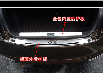 stainless steel Rear bumper Protector Sill fit For Peugeot 408 2014-2019 Car styling 2PCS door sill fast ship
