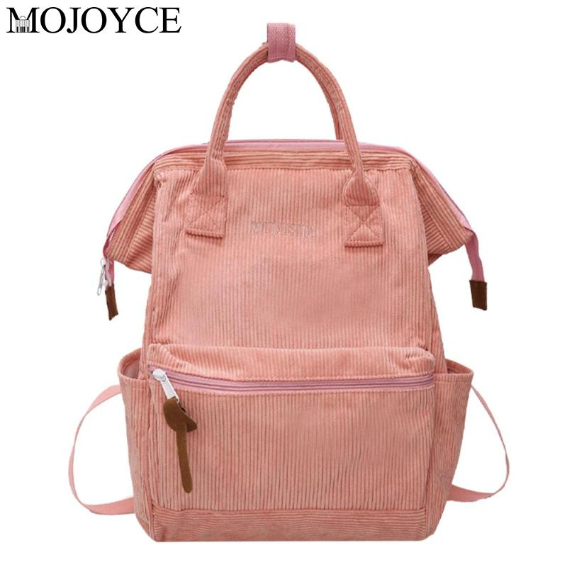 Fashion Solid Color Travel Shopping Backpacks Corduroy Women Large Capacity School Bag Top-handle Mochila Girl Casual Rucksack