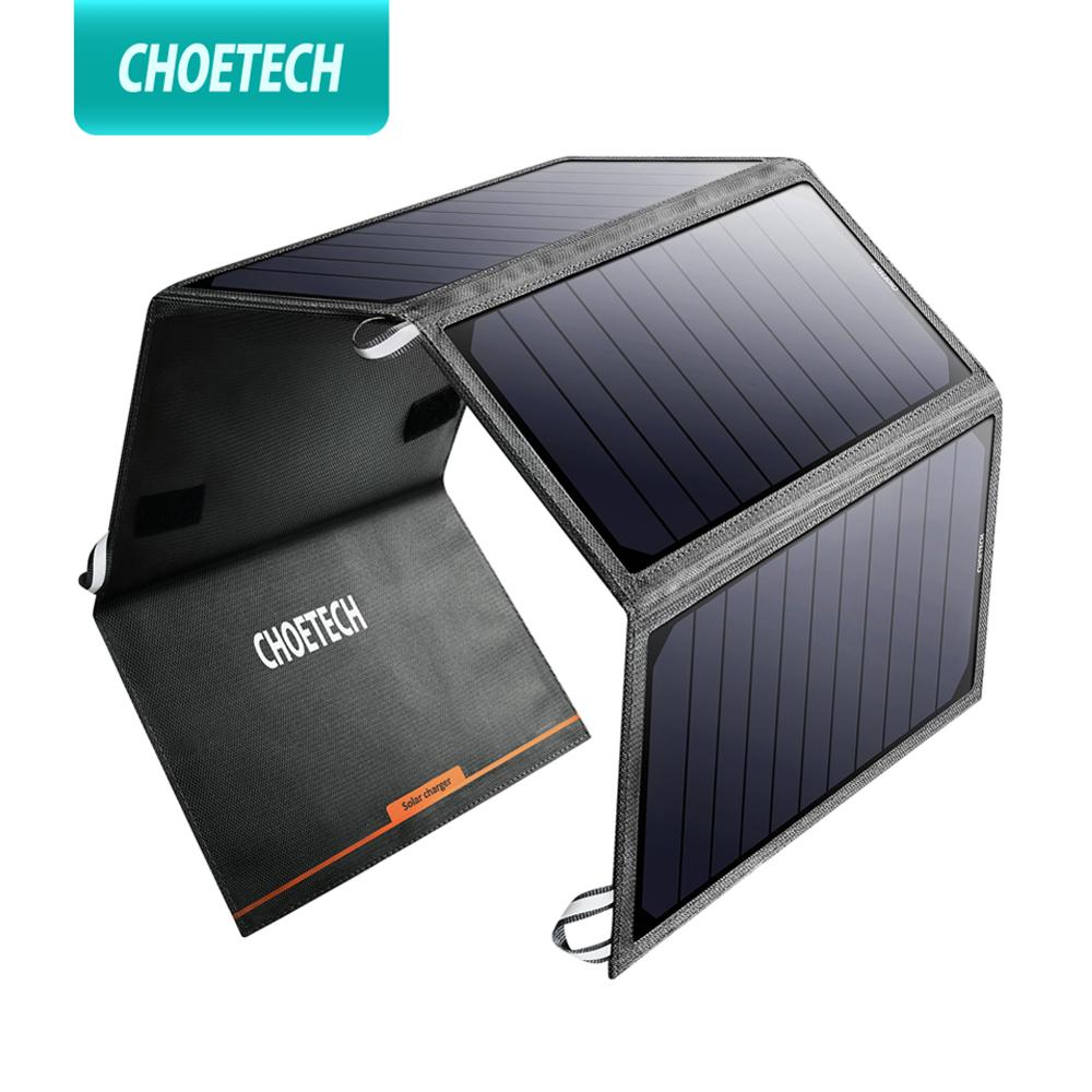 CHOETECH Solar Charger 24W USB Foldable Phone Travel Charger With SunPower Solar Panel Waterproof for iPhone 11 Pro X/8/7/6/Plus Mobile Phone Chargers    - title=