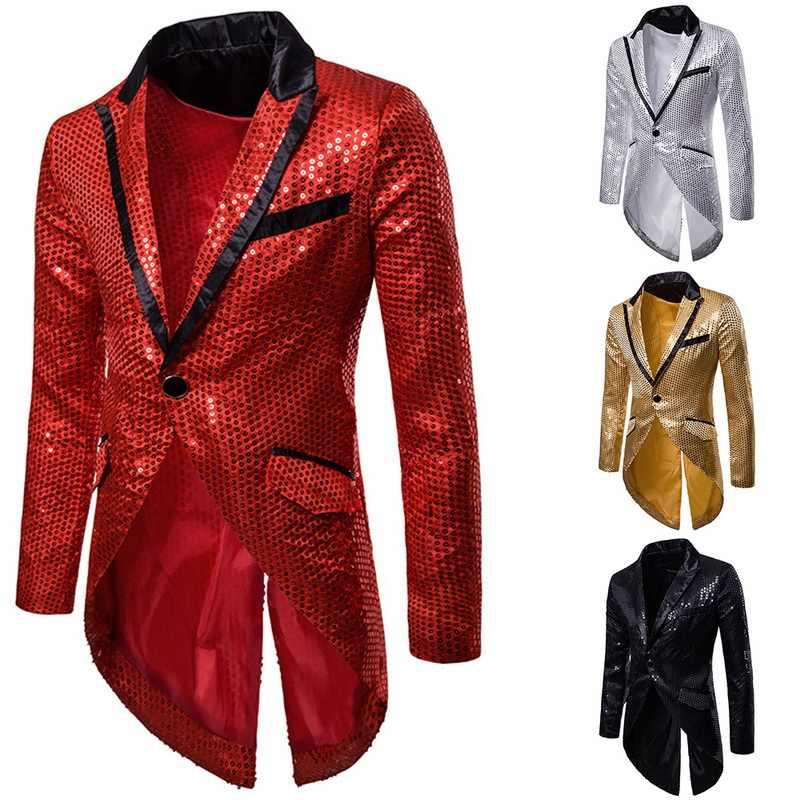 CYSINCOS2020 Nam Vàng Bạc Đỏ Đen Đầm Ôm Tailcoat Sân Khấu Vũ Hội Áo Trang Phục Cưới Chú Rể Vest