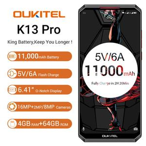 """Image 2 - OUKITEL K13 Pro 6.41 """"19.5:9 Android 9.0 cep telefonu MT6762 4G RAM 64G ROM 5V/6A 11000mAh OTA NFC parmak izi 4G Smartphone"""