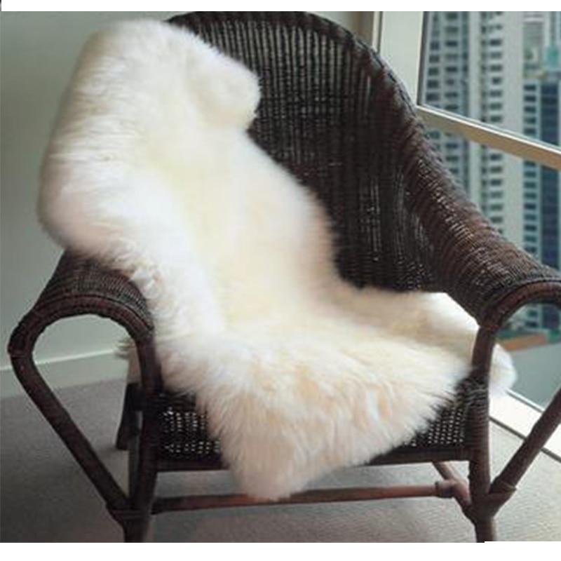 Faux Mat Soft Hairy manta Carpet Alfombra Sheepskin Chair mat Seat Pad Plain Skin Fur Plain Fluffy Area Rugs Washable Bedroom