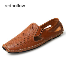 Men Fashion Cow Leather Sandals Summer Man Casual Shoes Slip On Driving Moccasins Soft Plus Size 38-47