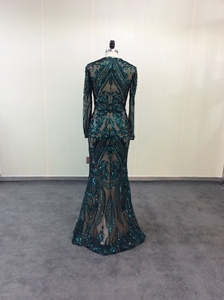 Image 5 - Green Sparkly Sequin Evening Dresses Long  2020 Mermaid Full Sleeves Detachable Train Saudi Arabic Women Formal Party Prom Gown
