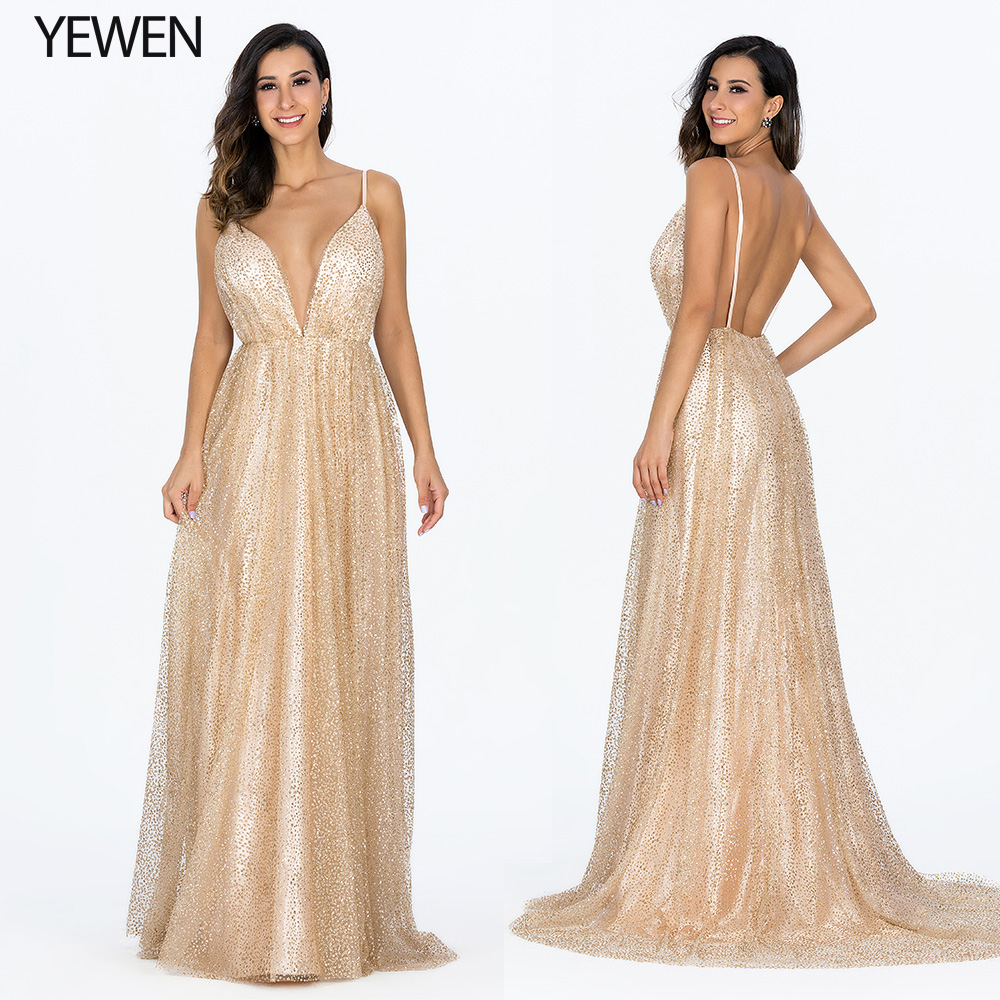 2019 Sexy Deep V-Neck Backless Evening Dresses Sequined Tulle Long Prom Dress Robe De Soiree Gold Spaghetti Strap Party Gowns