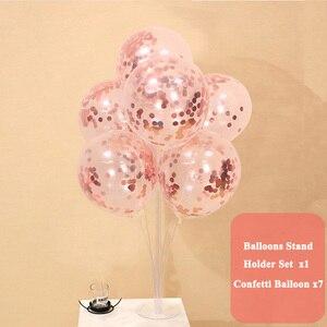 Image 5 - 7 buizen Ballonnen Standhouder Kolom Happy Birthday Party Decoraties Baby Jongen Meisje Eerste Een Jaar Confetti Benodigdheden Bruiloft