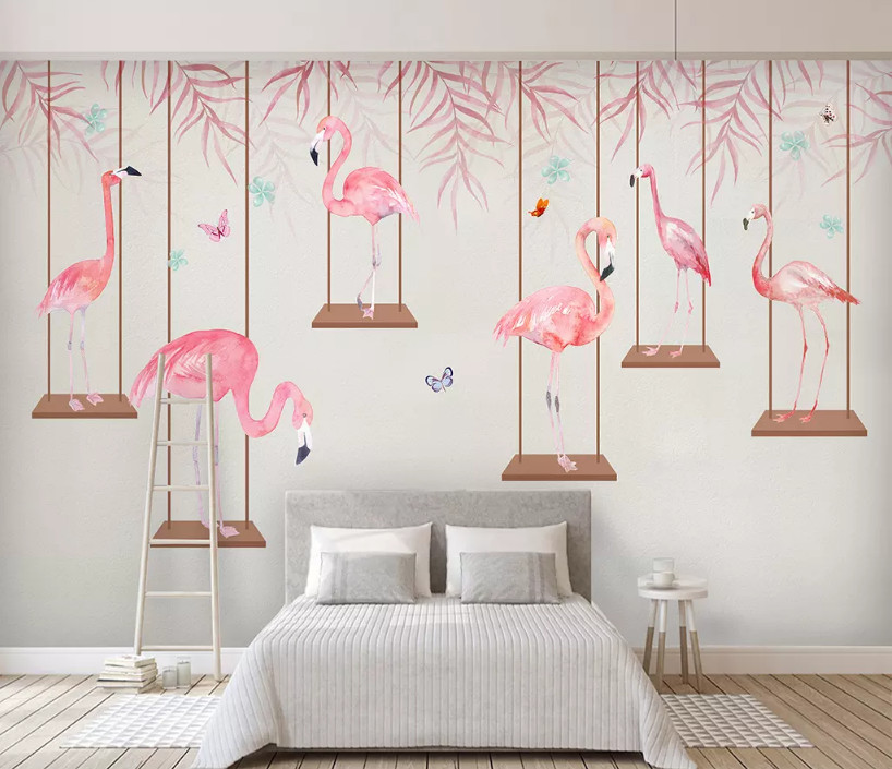 Custom Mural Wallpaper Modern Minimalist Hand-painted Flamingo Watercolor Leaves Nordic Background Wall Home Decoration