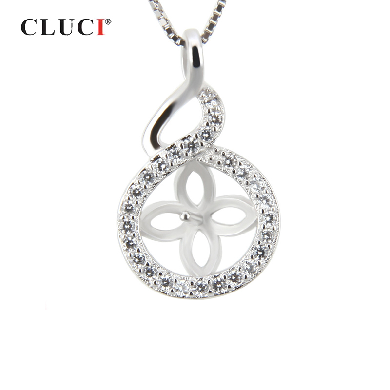 CLUCI Round Silver 925 Zircon Charms Pendant Women Jewelry 925 Sterling Silver Pearl Pendant Mounting Pendant Jewelry
