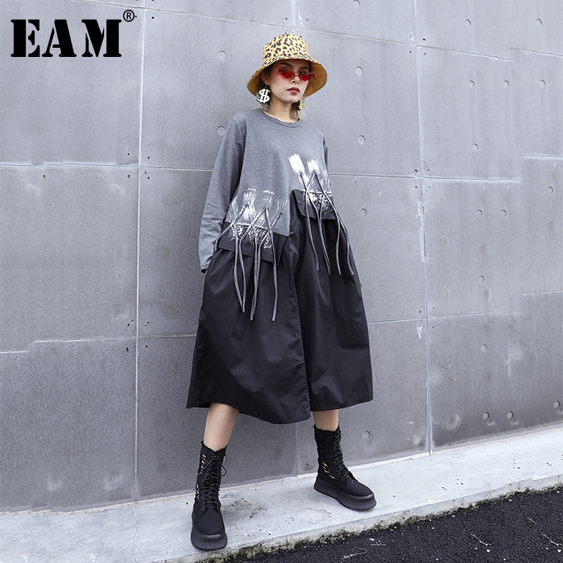 [EAM] Women Tassels Asymmetrical Contrast Color Dress New Round Neck Long Sleeve Loose Fit Fashion Spring Autumn 2020 1A048