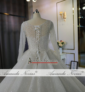 Image 4 - Heavy beading long sleeves wedding dress off white color custom order high quality bridal dress